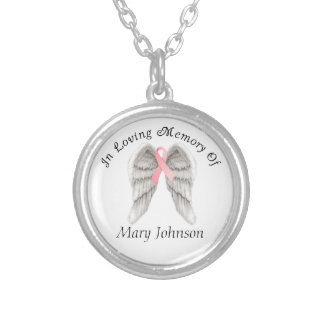 Breast Cancer Angel Wings Memory Round Pendant Necklace