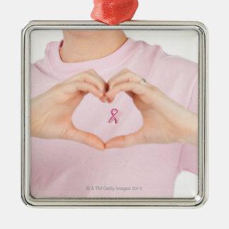 Breast Cancer Awareness 2 Silver-Colored Square Ornament