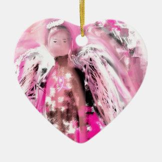 Breast Cancer Awareness Angel #2 Ceramic Heart Ornament
