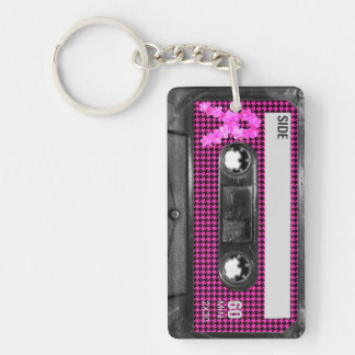 Breast Cancer Awareness Cassette Double-Sided Rectangular Acrylic Keychain