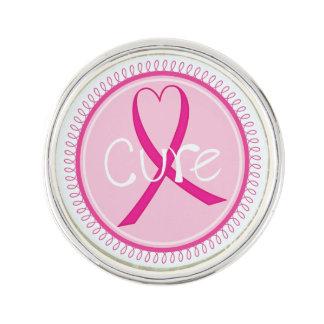 Breast Cancer Awareness Cure Ribbon Lapel Pin
