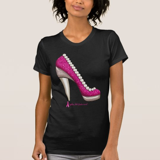 Breast Cancer Awareness Glitter Pearl Pump T-Shirt