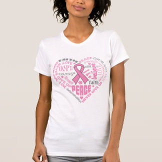 Breast Cancer Awareness Heart Words Tshirts
