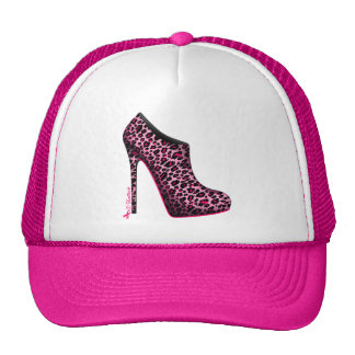 Breast Cancer Awareness Leopard Bootie cap Trucker Hat