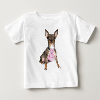 Breast Cancer Awareness Manny the Merle Chihuahua Baby T-Shirt