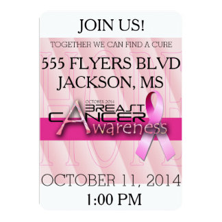 Breast Cancer Awareness Month - Pink 5x7 Paper Invitation Card