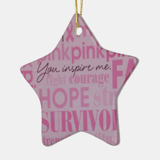 Breast Cancer Awareness Double-Sided Star Ceramic Christmas Ornament
