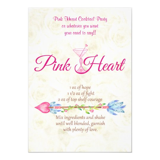 Breast Cancer Awareness Pink Heart Recipe Boho Card