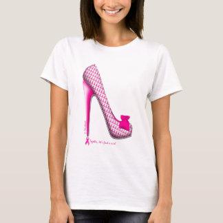 Breast Cancer Awareness Pink Ribbon Heel T-Shirt