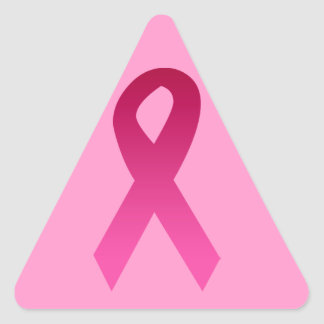 Breast cancer awareness pink ribbon triangle sticker