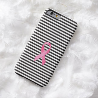 Breast Cancer Awareness Ribbon Black Stripe Barely There iPhone 6 Case