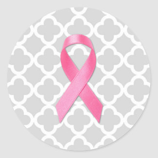 Breast Cancer Awareness Ribbon Grey Clover Classic Round Sticker