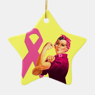Breast Cancer Awareness Rosie the Riveter Ceramic Star Ornament