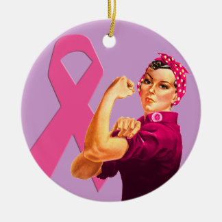 Breast Cancer Awareness Rosie the Riveter Christmas Tree Ornaments