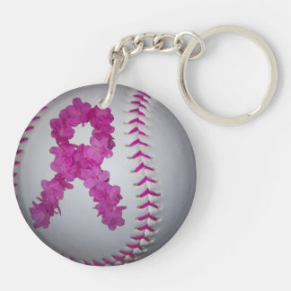 Breast Cancer Awareness Softball Keychain