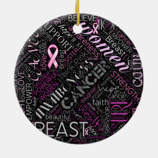Breast Cancer Awareness Word Cloud ID261 Round Ceramic Ornament