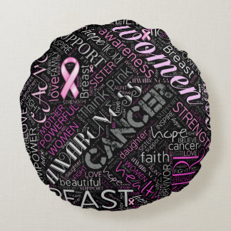 Breast Cancer Awareness Word Cloud ID261 Round Pillow