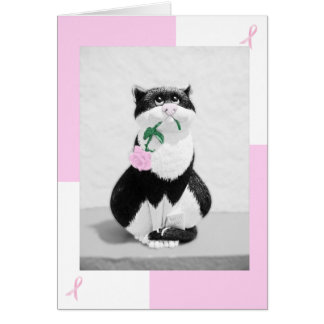 Breast Cancer Card Cat & Pink Rose; Pink Ribbons