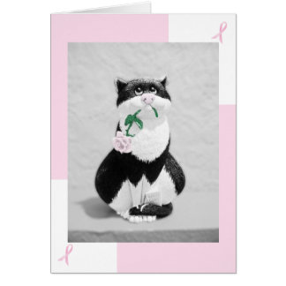 Breast Cancer Card--Cat with Pink Rose Note Card
