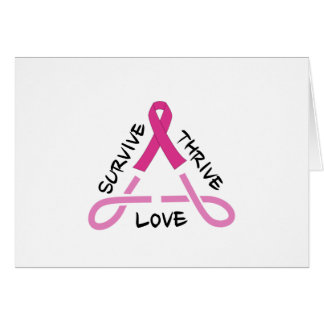 Breast Cancer Celtic Triangle - Survive,Thrive,Lov Greeting Card
