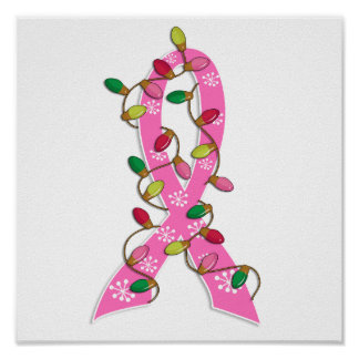 Breast Cancer Christmas Lights Ribbon Poster