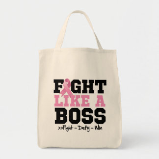 Breast Cancer Fight Like a Boss Canvas Bags