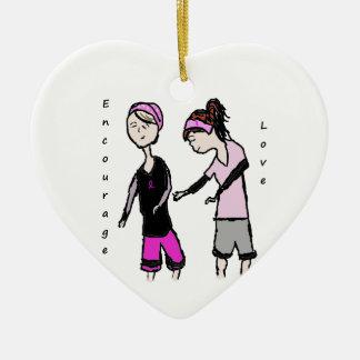 Breast Cancer Friendship Encouragement Ceramic Ornament