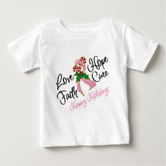 Breast Cancer Hope Love Cure Happy Holidays Tee Shirt