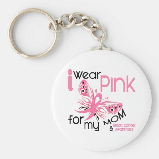 Breast Cancer I WEAR PINK FOR MY MOM 45 Basic Round Button Keychain