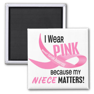 Breast Cancer I WEAR PINK FOR MY NIECE 33.2 Square Magnet