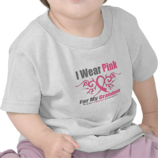 Breast Cancer I Wear Pink Tribal Ribbon (Grandma) Tshirts