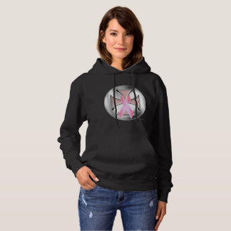Breast Cancer Iron Cross Ladies Hoodie