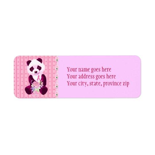 Breast Cancer Panda Bear Return Address Label