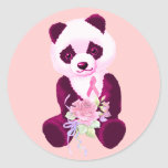 Breast Cancer Panda Bear Round Sticker