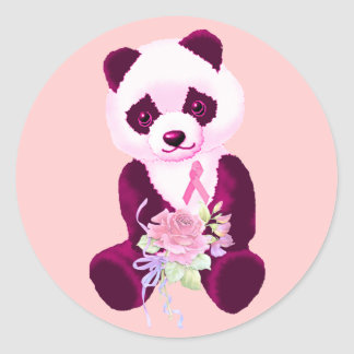 Breast Cancer Panda Bear Round Stickers