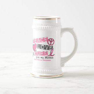 Breast Cancer PEACE, LOVE, A CURE 1 (Mother) Beer Stein