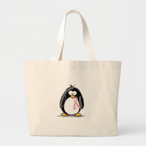 Breast Cancer Penguin Canvas Bags