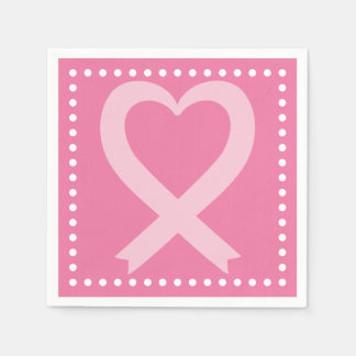 Breast Cancer Pink Heart Ribbon Event Paper Napkin