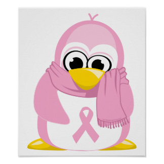 Breast Cancer Pink Penguin Poster