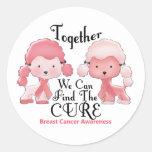 Breast Cancer Pink Poodles Together 2 Stickers
