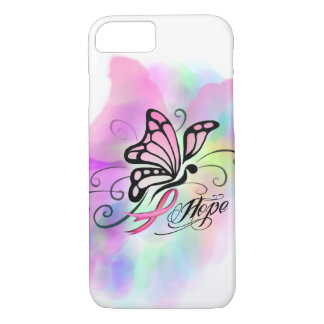 breast cancer, pink ribbon, butterfly water color iPhone 7 case