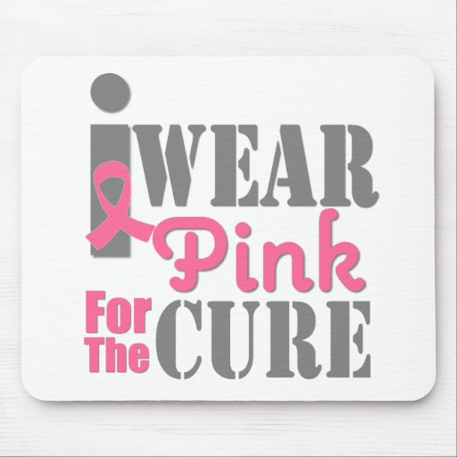 BREAST CANCER PINK RIBBON For The Cure Mouse Pads