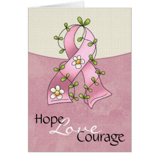 Breast Cancer Pink Ribbon Hope Love Courage Card 2