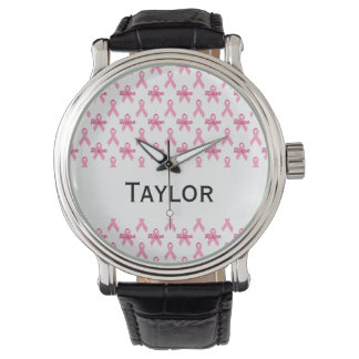 Breast Cancer Pink Ribbon Hope Personalized Watch