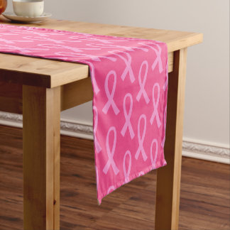Breast Cancer Pink Ribbon Pattern Short Table Runner