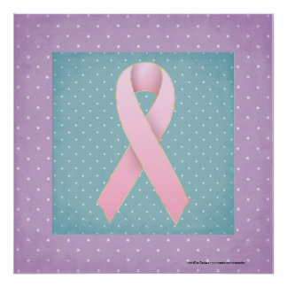 Breast Cancer Pink Ribbon Purple/Teal Poster