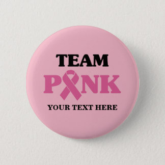 Breast Cancer Pink Ribbon Team 2 Inch Round Button