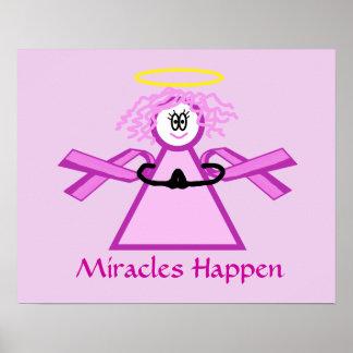 Breast Cancer Praying Pink Ribbon Angel Poster