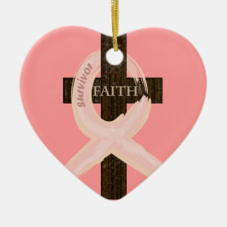 Breast Cancer Ribbon Celbrates Faith & Remission Ceramic Ornament