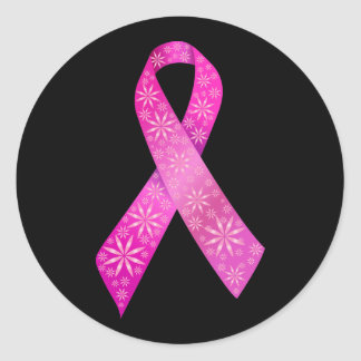 Breast Cancer Ribbon Classic Round Sticker